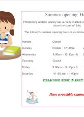 Special Summer Opening hours at the Library