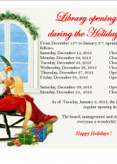 Library Opening hours during the Holiday Season